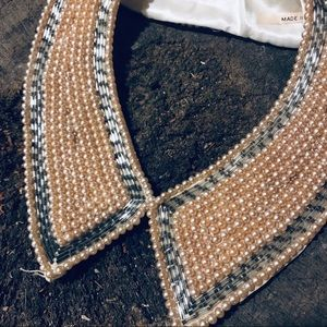 Vintage Jewelry - Vintage beaded pearl deco collar cream and silver